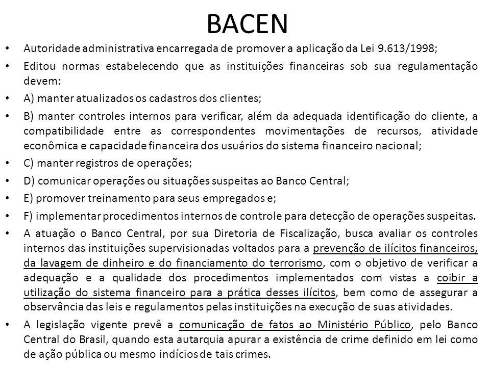 BACEN Autoridade administrativa encarregada de promover a aplicação da Lei 9.613/1998;