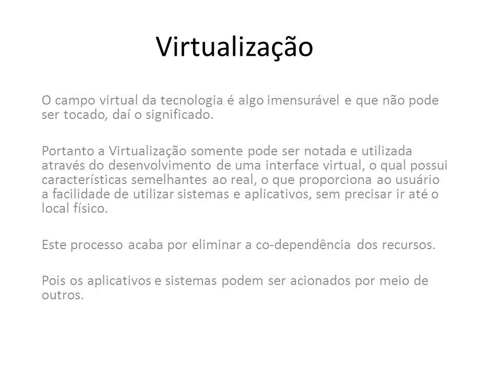 Virtualização O campo virtual da tecnologia é algo imensurável e que não pode ser tocado, daí o significado.
