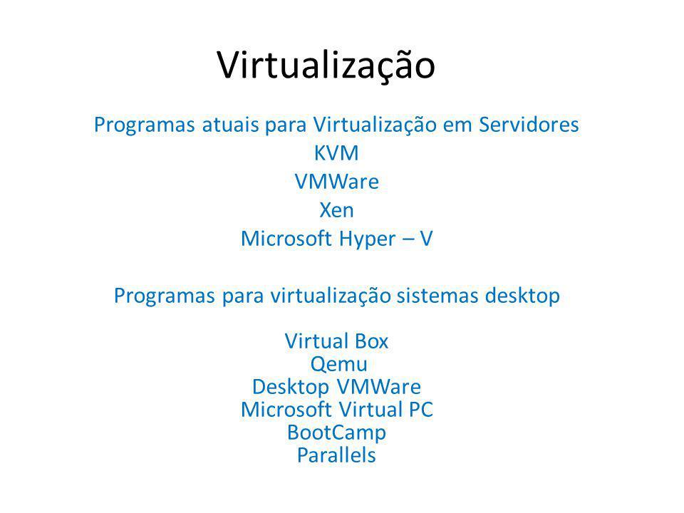 Programas atuais para Virtualização em Servidores