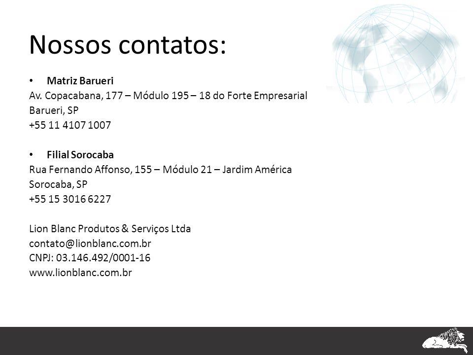 Nossos contatos: Matriz Barueri