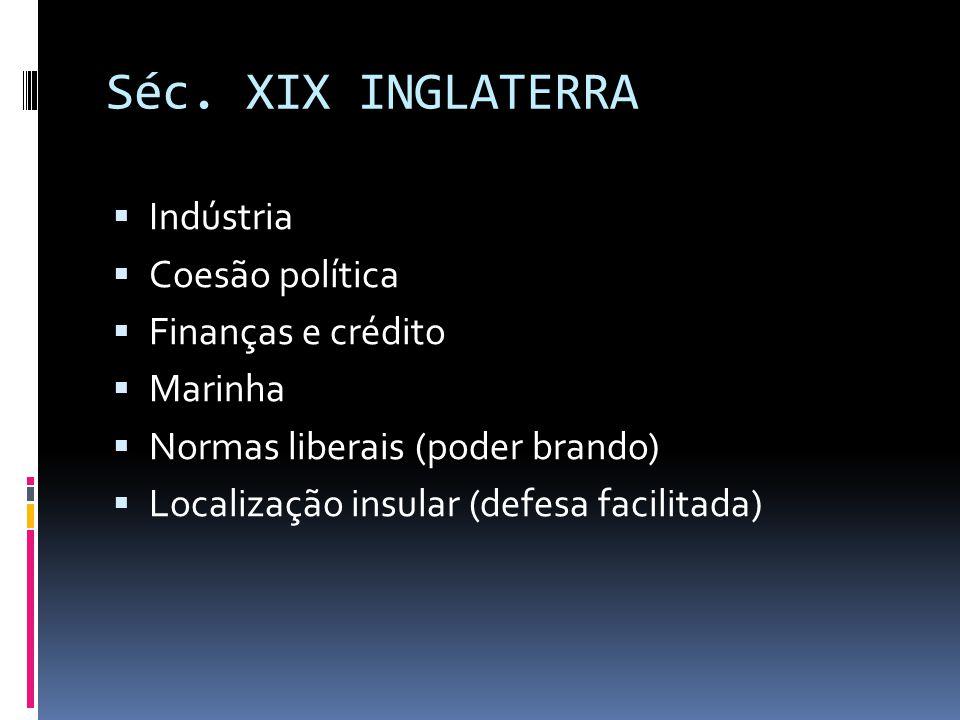 Séc. XIX INGLATERRA Indústria Coesão política Finanças e crédito