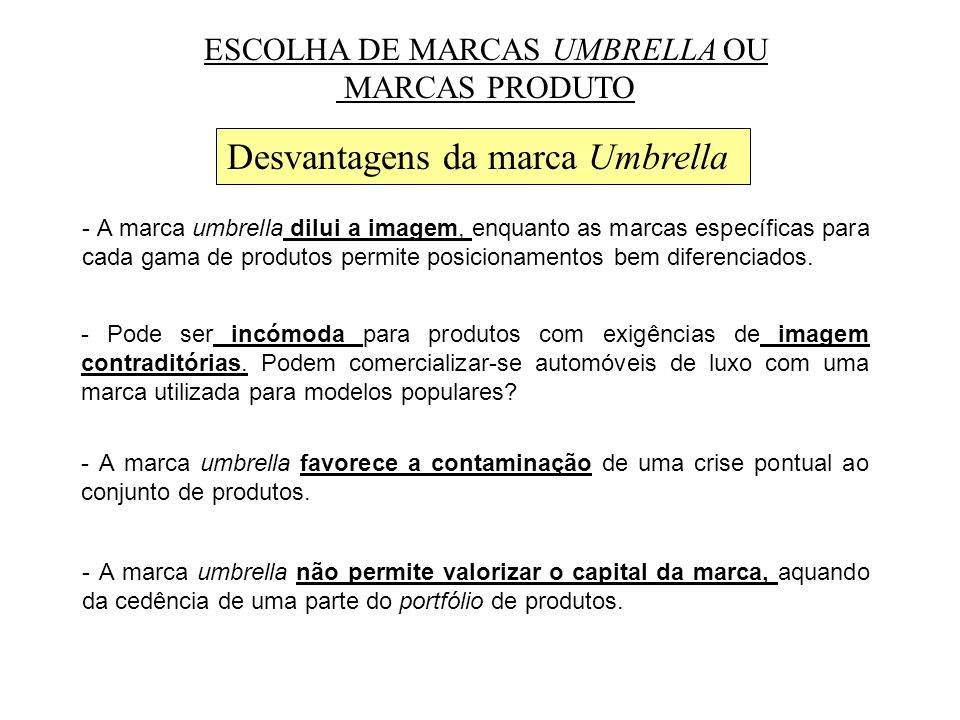 Desvantagens da marca Umbrella