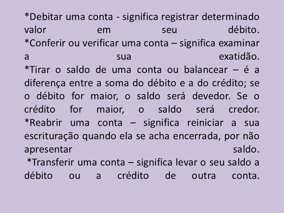 *Debitar uma conta - significa registrar determinado valor em seu débito.