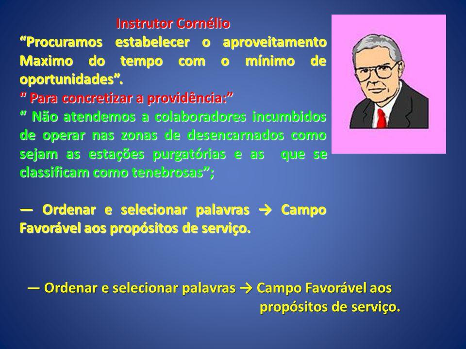 Instrutor Cornélio Procuramos estabelecer o aproveitamento Maximo do tempo com o mínimo de oportunidades .