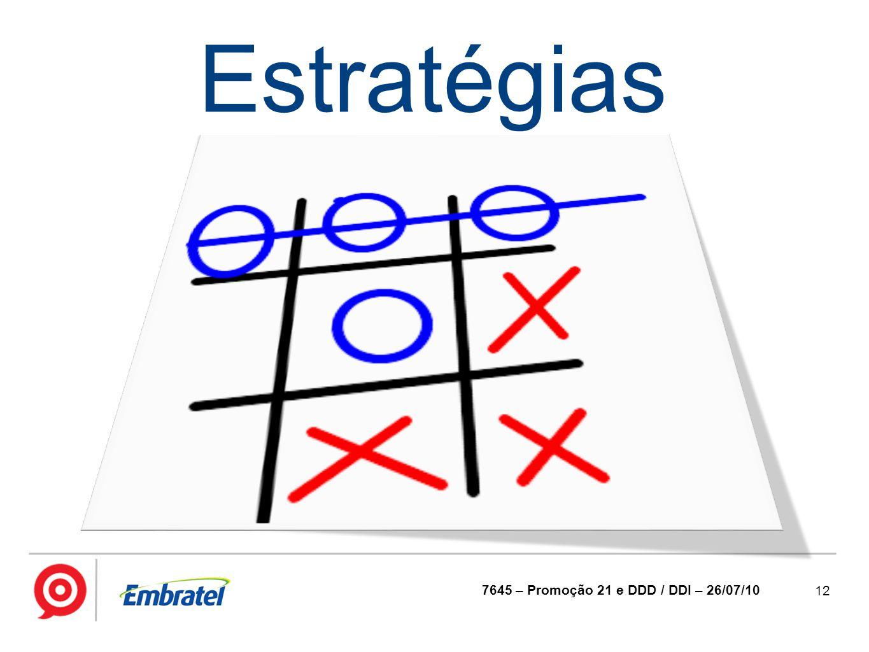 Estratégias 7645 – Promoção 21 e DDD / DDI – 26/07/10
