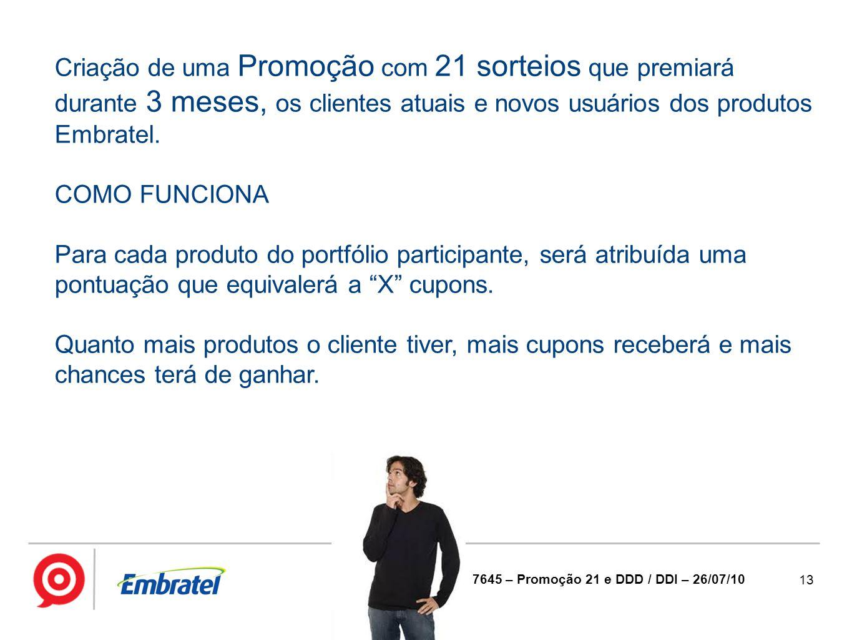Criação de uma Promoção com 21 sorteios que premiará durante 3 meses, os clientes atuais e novos usuários dos produtos Embratel.