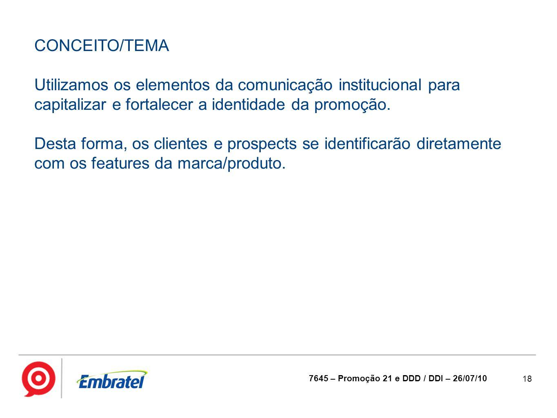 CONCEITO/TEMA Utilizamos os elementos da comunicação institucional para capitalizar e fortalecer a identidade da promoção.