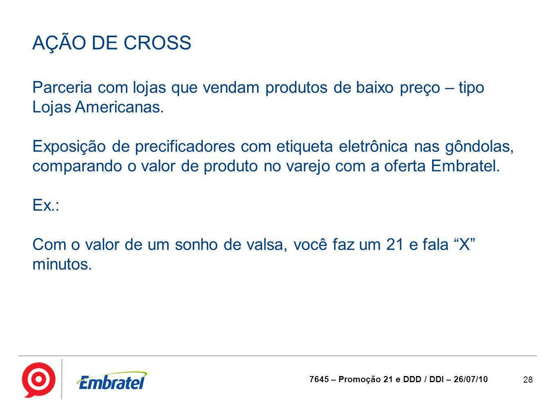 AÇÃO DE CROSS Parceria com lojas que vendam produtos de baixo preço – tipo Lojas Americanas.