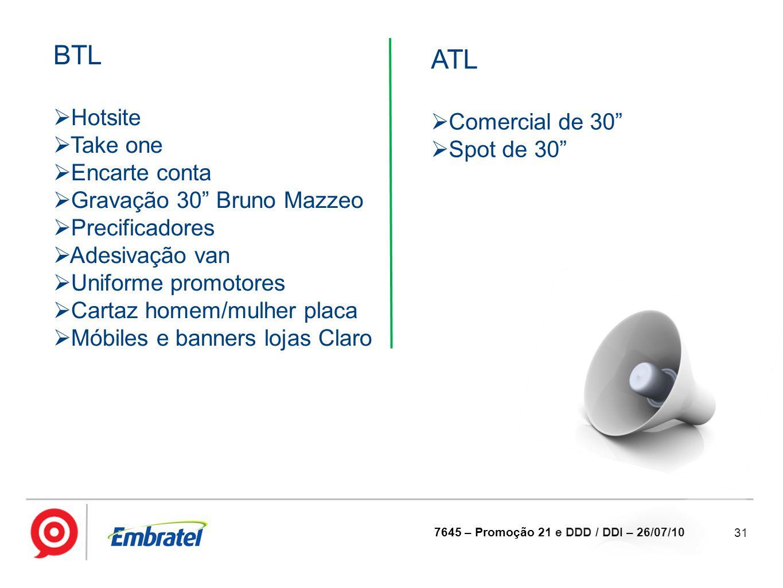 BTL ATL Hotsite Comercial de 30 Take one Spot de 30 Encarte conta
