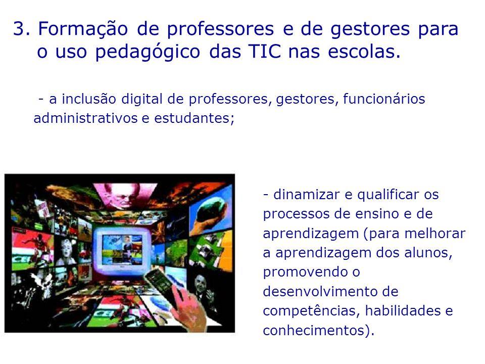 3. Formação de professores e de gestores para o uso pedagógico das TIC nas escolas.