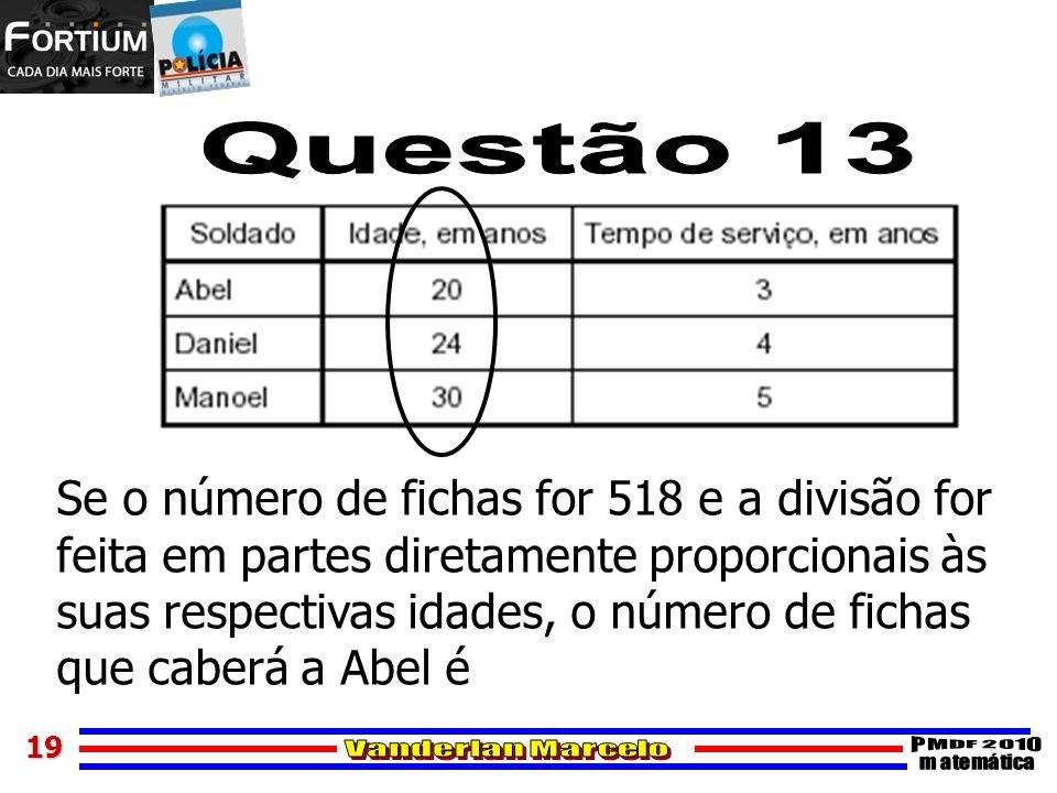 Questão 13 Se o número de fichas for 518 e a divisão for