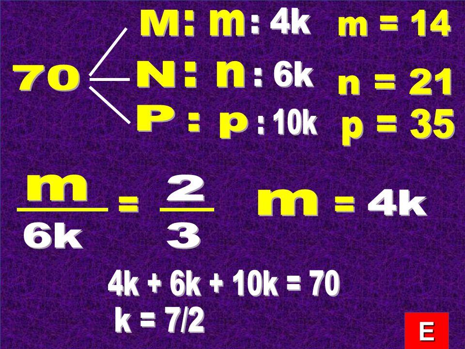 M : m : 4k m = 14 N : n : 6k 70 n = 21 P : 10k p = 35 : p m 2 m 4k = =