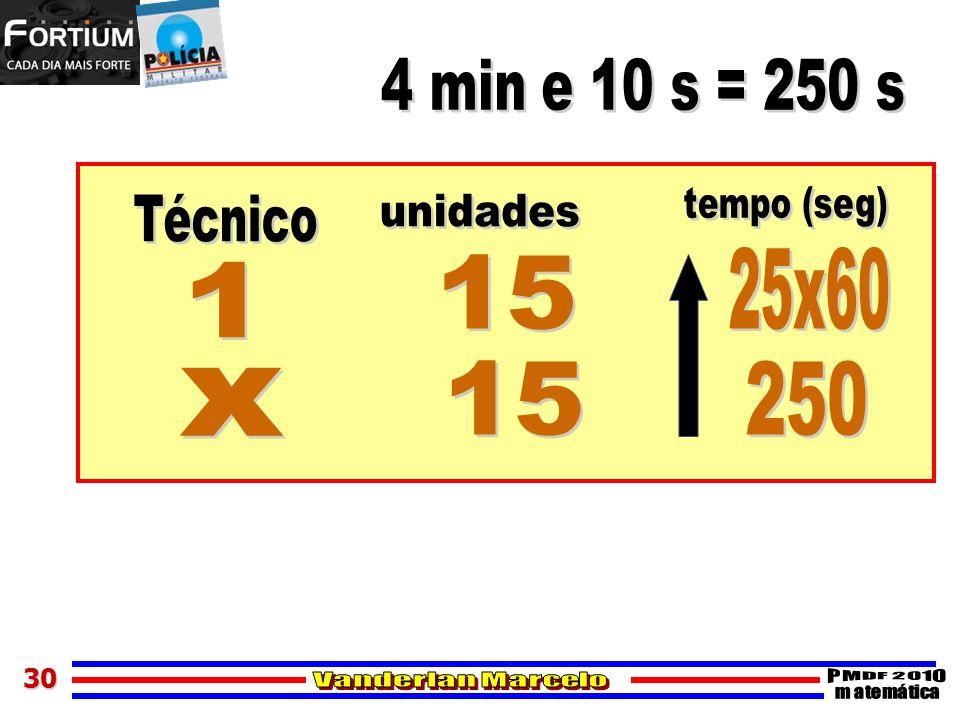 4 min e 10 s = 250 s tempo (seg) Técnico unidades 25x60 15 1 15 250 x