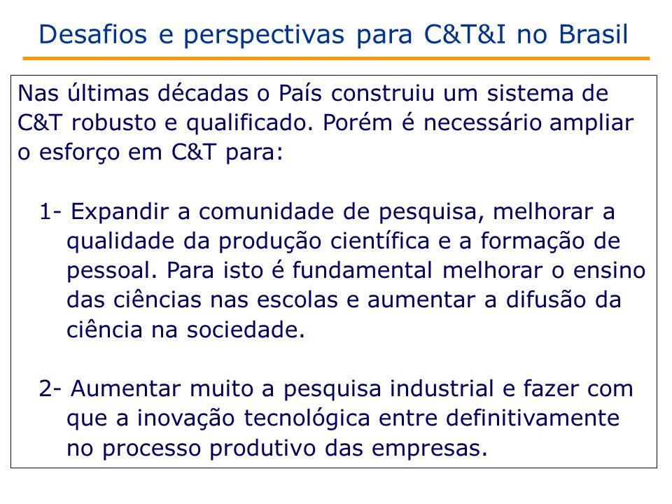Desafios e perspectivas para C&T&I no Brasil