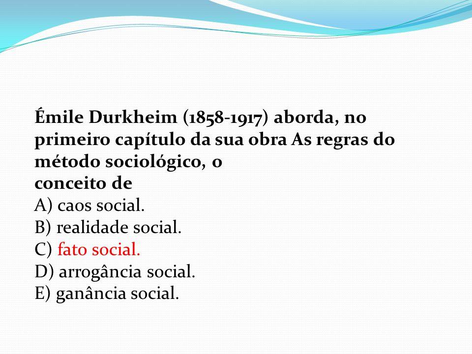Émile Durkheim (1858-1917) aborda, no primeiro capítulo da sua obra As regras do método sociológico, o