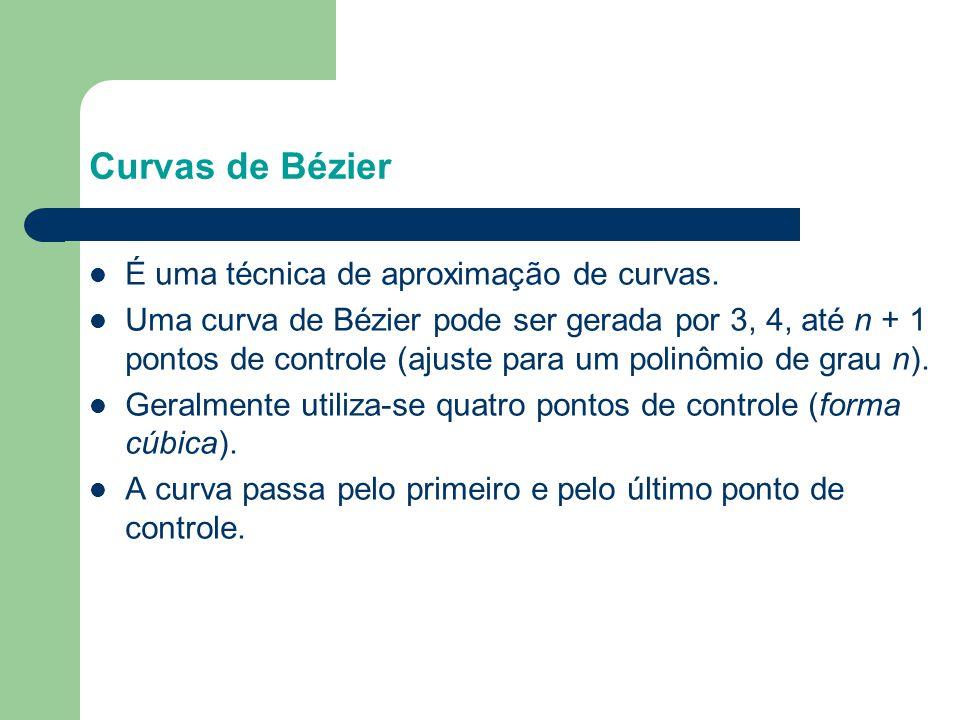 Curvas de Bézier É uma técnica de aproximação de curvas.