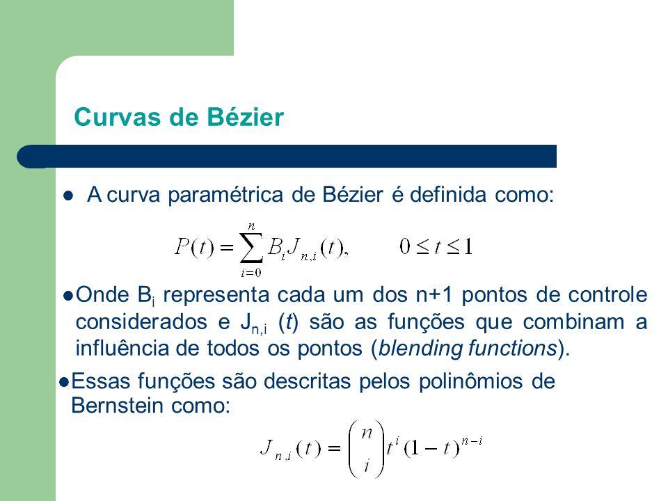 Curvas de Bézier A curva paramétrica de Bézier é definida como:
