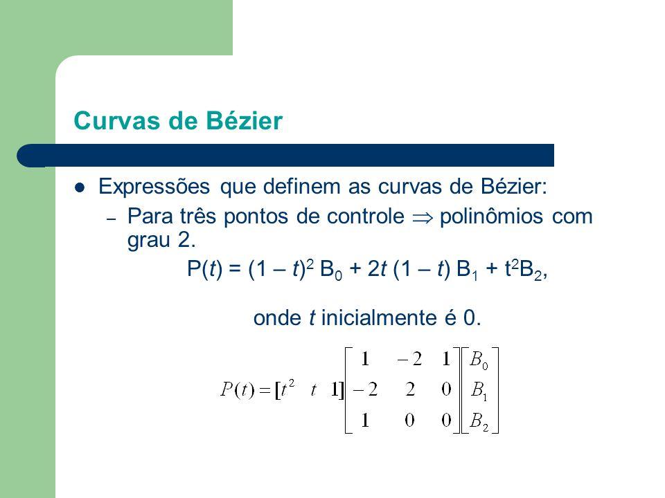 P(t) = (1 – t)2 B0 + 2t (1 – t) B1 + t2B2,