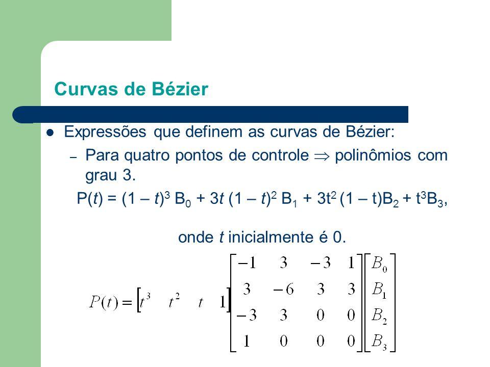 P(t) = (1 – t)3 B0 + 3t (1 – t)2 B1 + 3t2 (1 – t)B2 + t3B3,