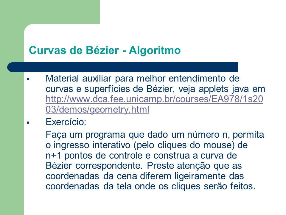 Curvas de Bézier - Algoritmo