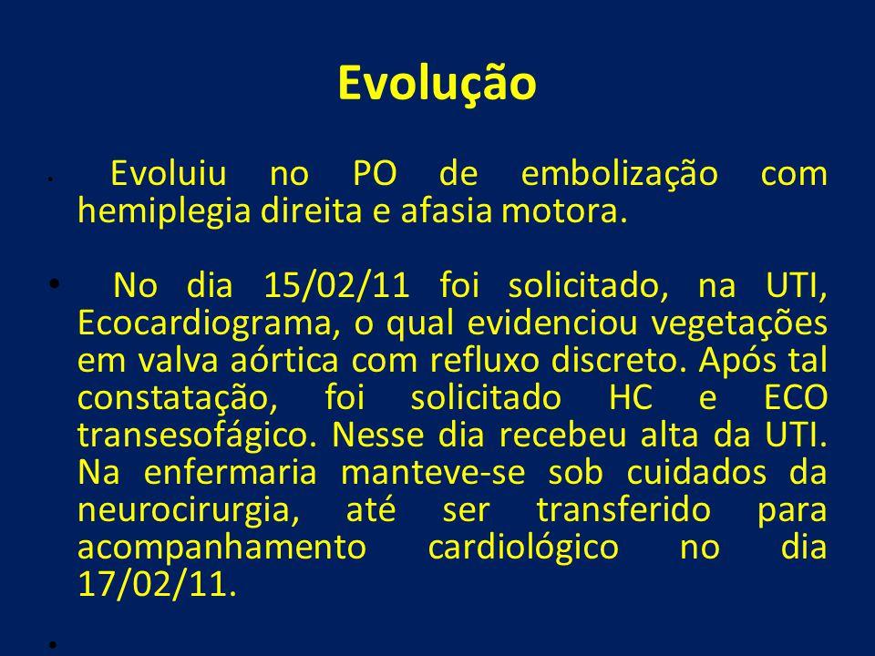 Evolução Evoluiu no PO de embolização com hemiplegia direita e afasia motora.