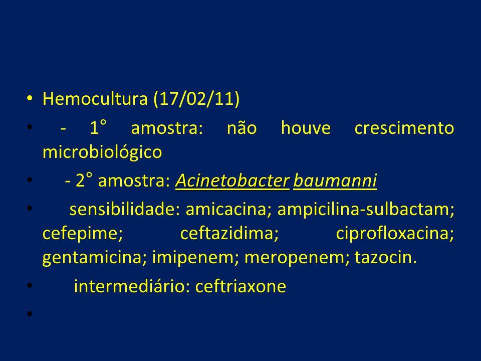 Hemocultura (17/02/11) - 1° amostra: não houve crescimento microbiológico. - 2° amostra: Acinetobacter baumanni.