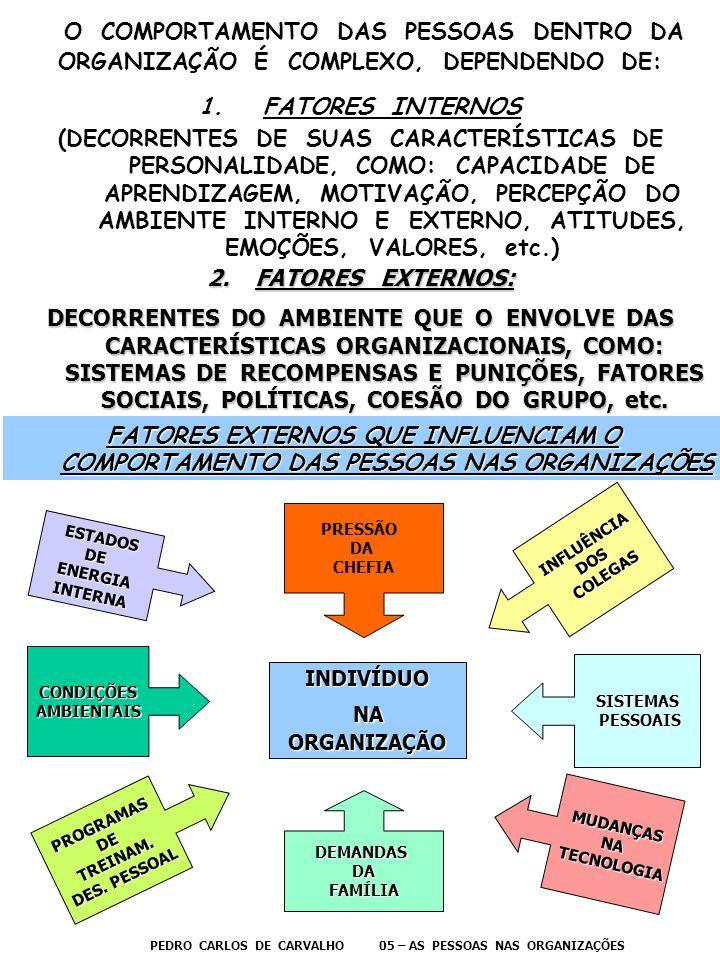 O COMPORTAMENTO DAS PESSOAS DENTRO DA ORGANIZAÇÃO É COMPLEXO, DEPENDENDO DE:
