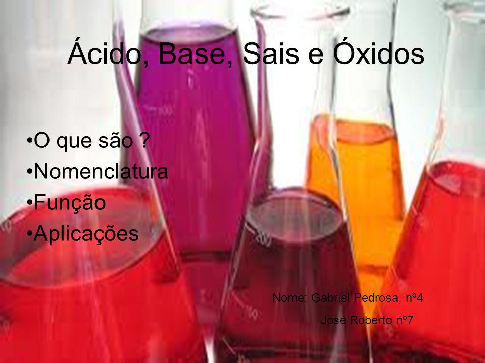 Ácido, Base, Sais e Óxidos