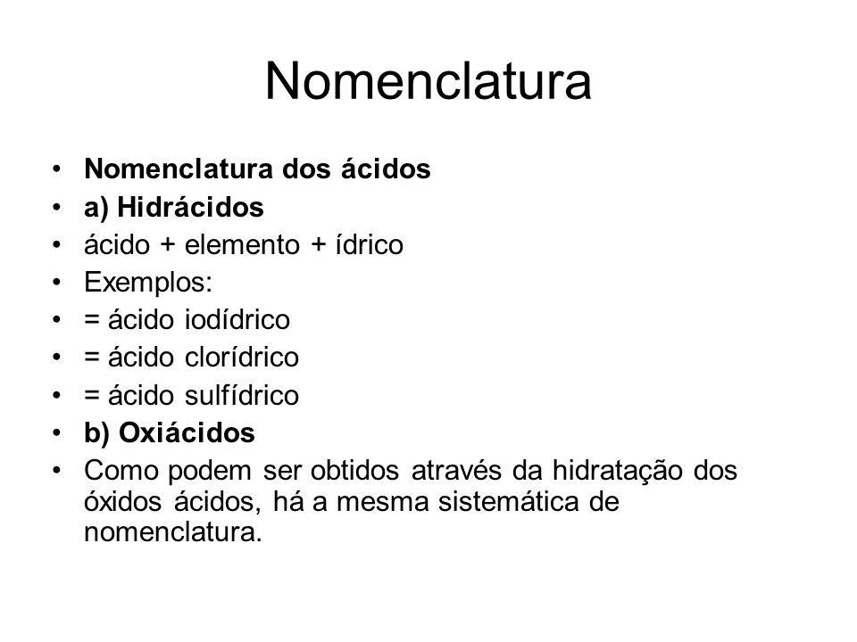 Nomenclatura Nomenclatura dos ácidos a) Hidrácidos