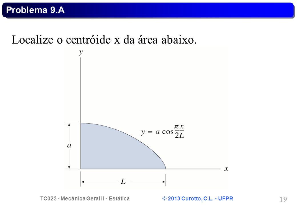 Localize o centróide x da área abaixo.