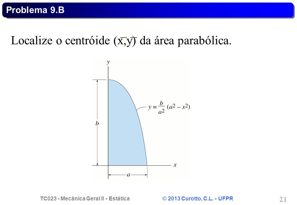 Localize o centróide (x,y) da área parabólica.