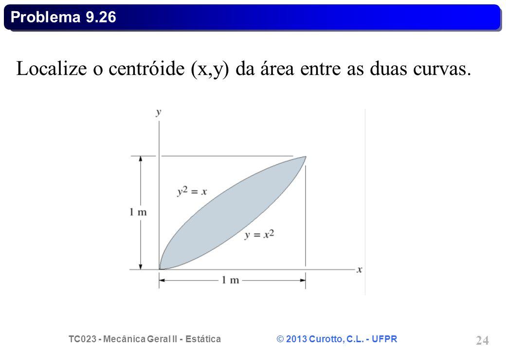 Localize o centróide (x,y) da área entre as duas curvas.