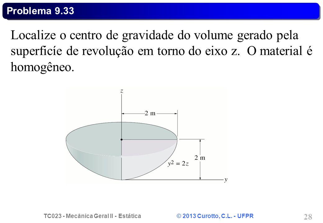 Problema 9.33 Localize o centro de gravidade do volume gerado pela superficíe de revolução em torno do eixo z.