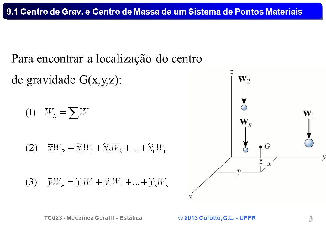 Para encontrar a localização do centro de gravidade G(x,y,z):