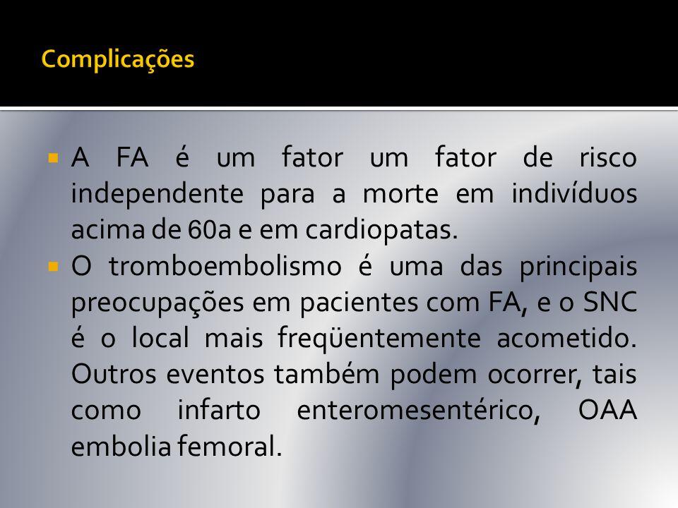 Complicações A FA é um fator um fator de risco independente para a morte em indivíduos acima de 60a e em cardiopatas.