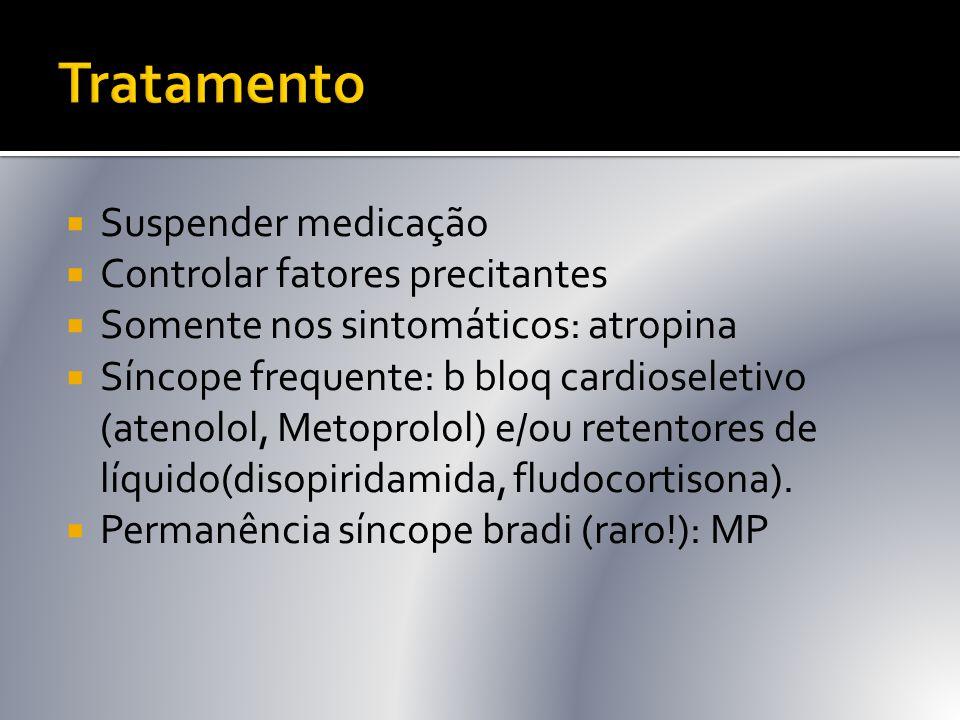Tratamento Suspender medicação Controlar fatores precitantes