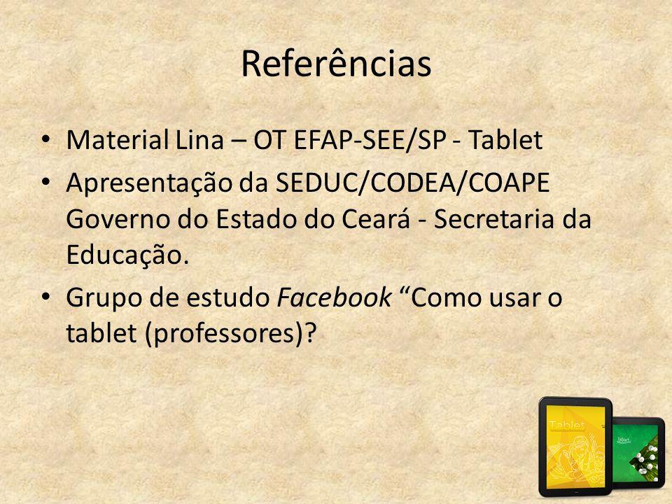 Referências Material Lina – OT EFAP-SEE/SP - Tablet