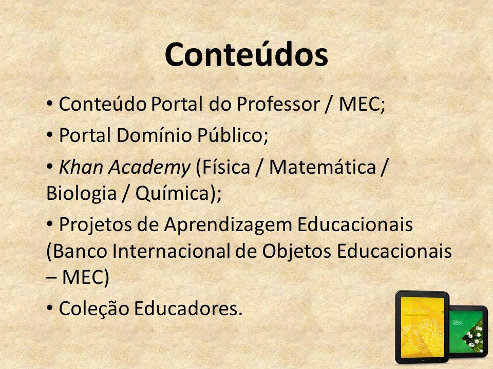 Conteúdos Conteúdo Portal do Professor / MEC; Portal Domínio Público;