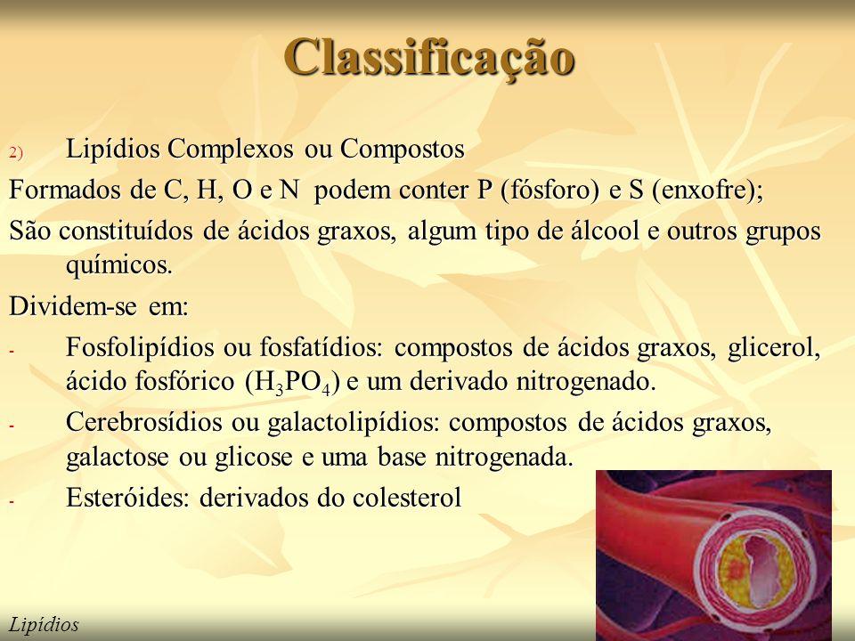 Classificação Lipídios Complexos ou Compostos