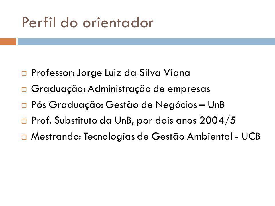 Perfil do orientador Professor: Jorge Luiz da Silva Viana