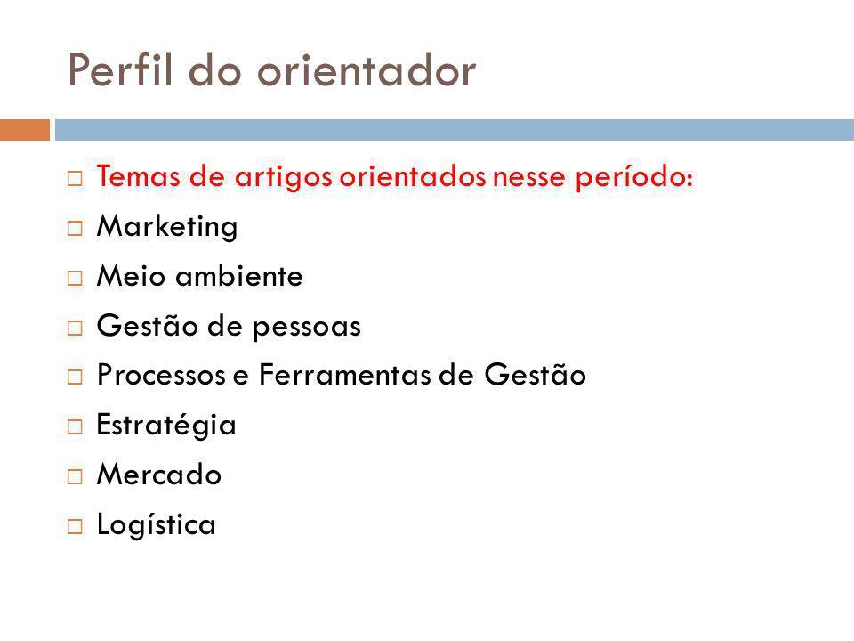 Perfil do orientador Temas de artigos orientados nesse período: