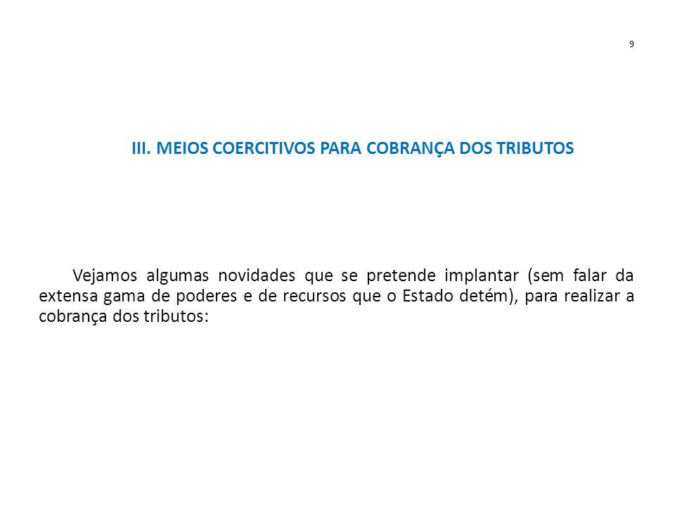 III. MEIOS COERCITIVOS PARA COBRANÇA DOS TRIBUTOS