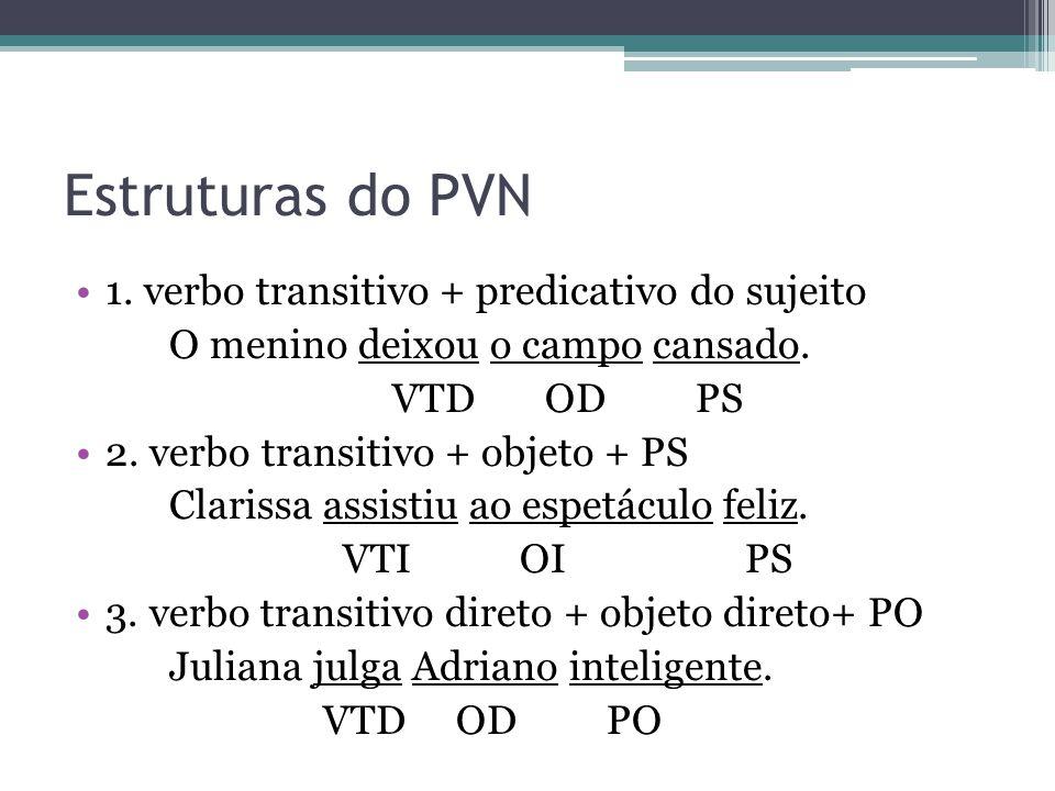 Estruturas do PVN 1. verbo transitivo + predicativo do sujeito