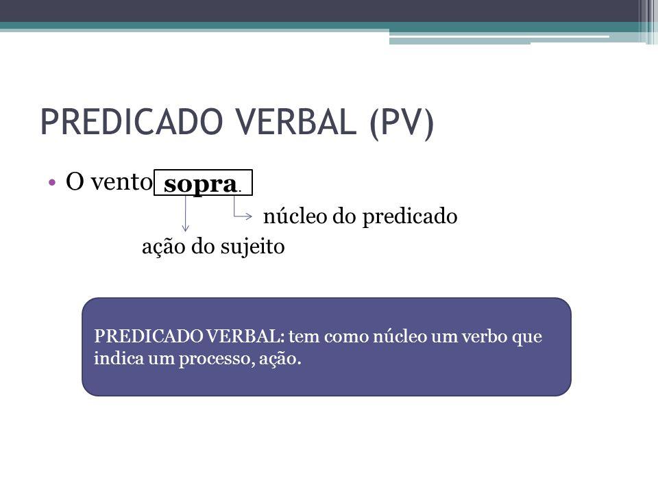 PREDICADO VERBAL (PV) O vento . sopra. núcleo do predicado