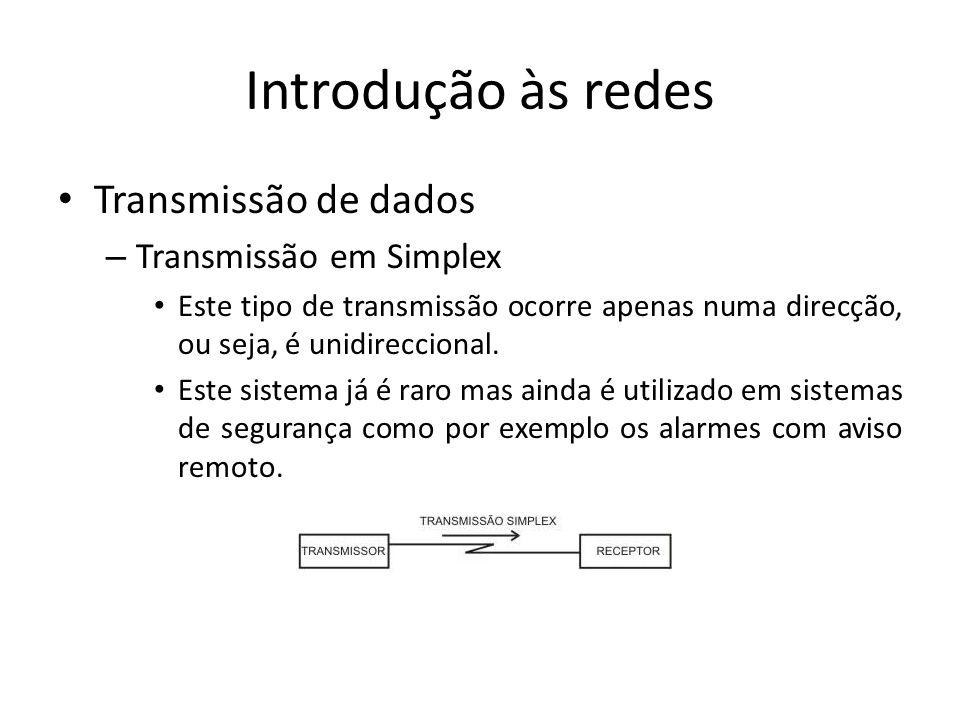 Introdução às redes Transmissão de dados Transmissão em Simplex