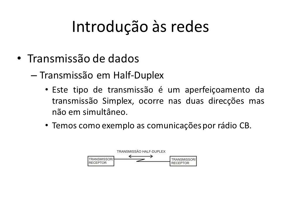 Introdução às redes Transmissão de dados Transmissão em Half-Duplex