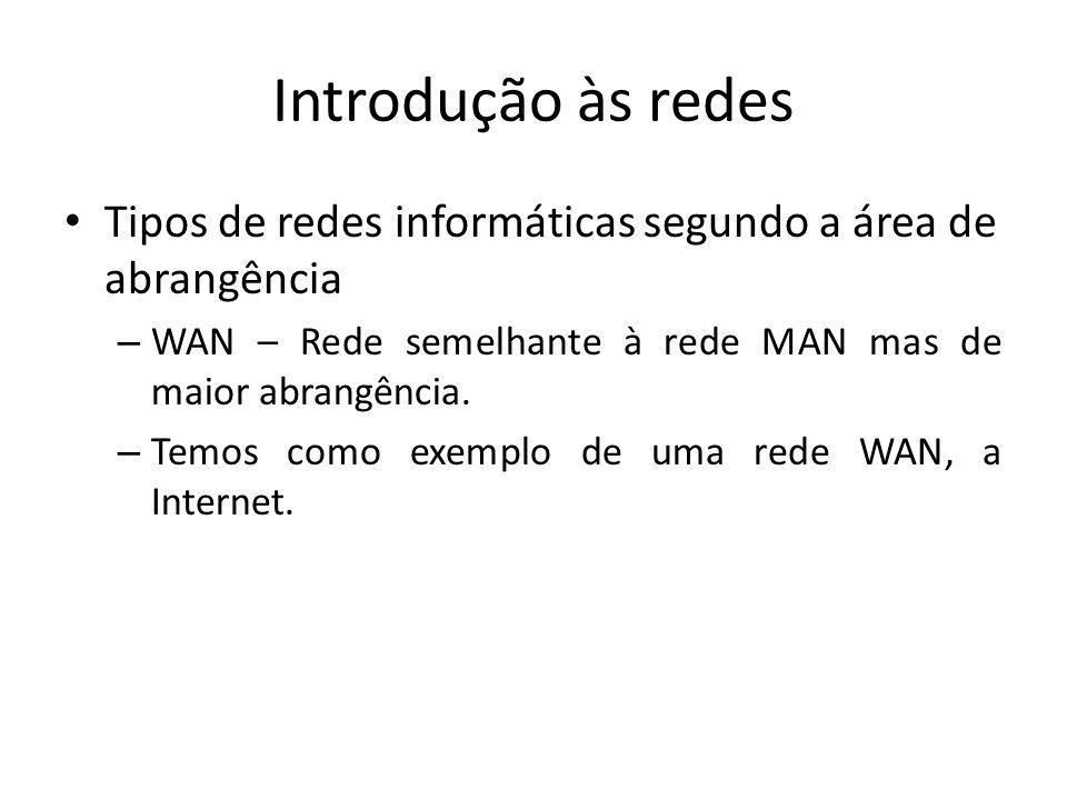 Introdução às redes Tipos de redes informáticas segundo a área de abrangência. WAN – Rede semelhante à rede MAN mas de maior abrangência.