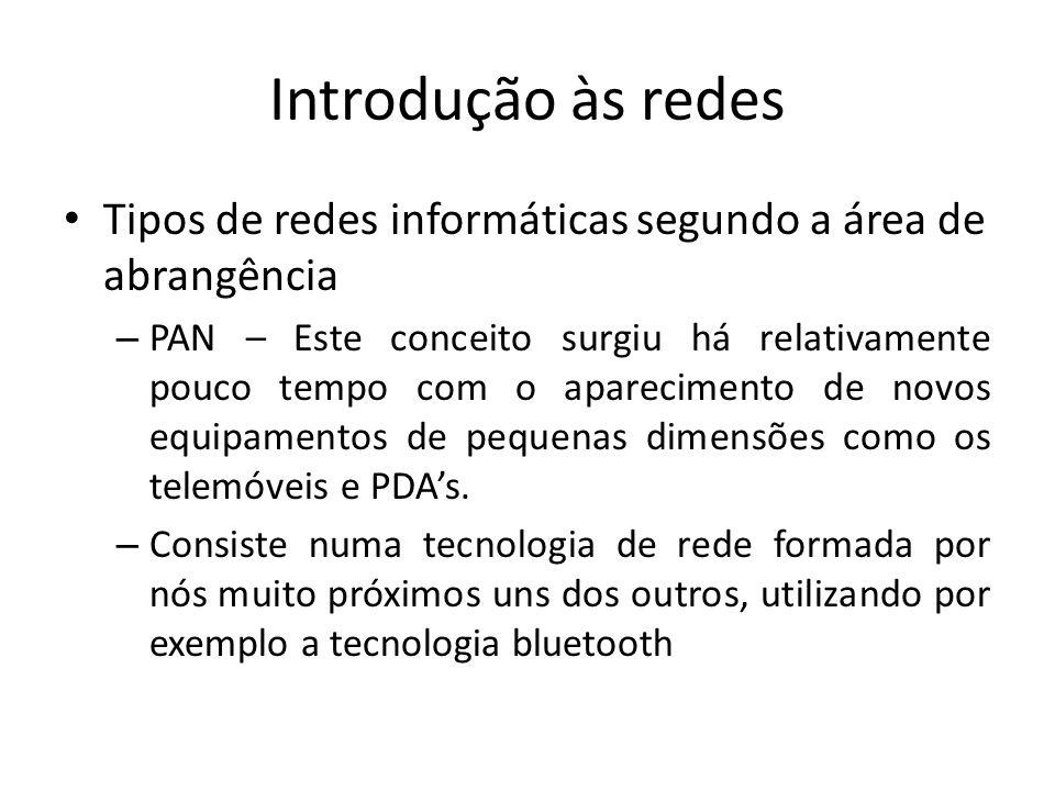 Introdução às redes Tipos de redes informáticas segundo a área de abrangência.