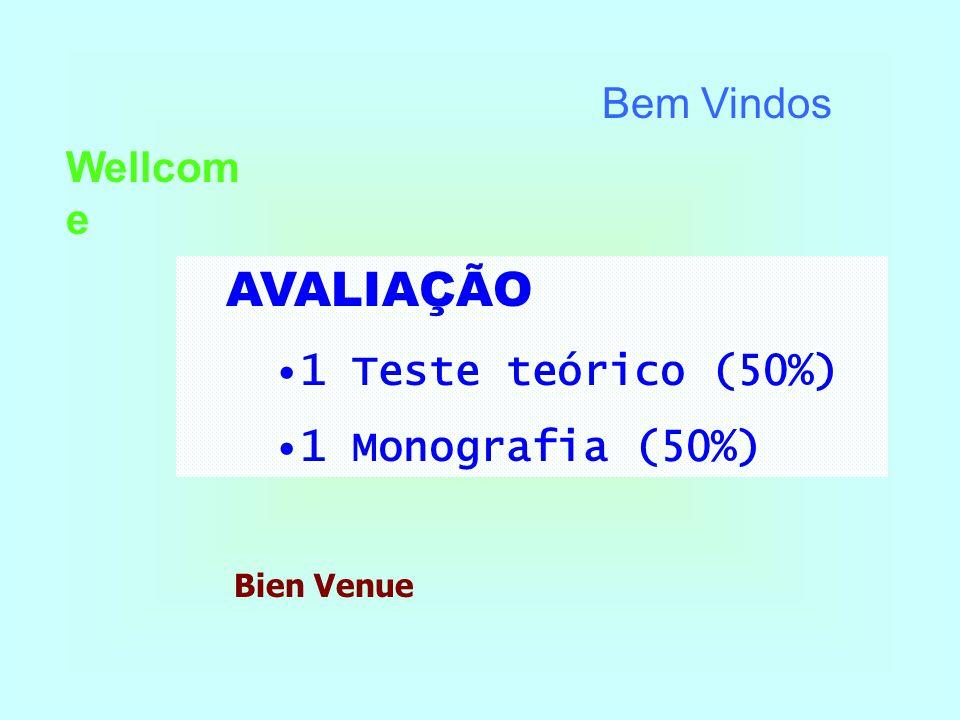 AVALIAÇÃO Bem Vindos Wellcome 1 Teste teórico (50%) 1 Monografia (50%)