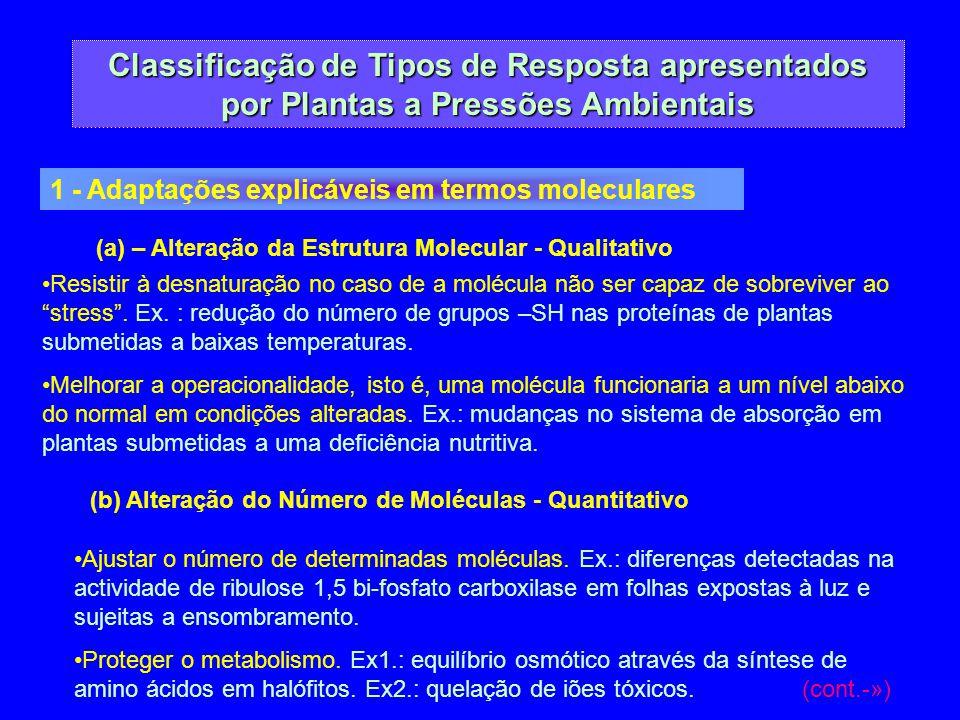 Classificação de Tipos de Resposta apresentados por Plantas a Pressões Ambientais